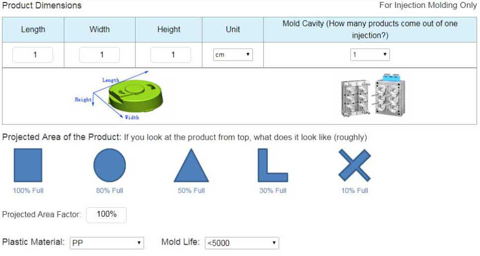 Injection Molding Price Calculator | QUICKPART cn
